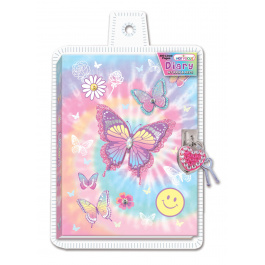 Hot Focus Diary With Lock & Keys Tye Dye Butterfly