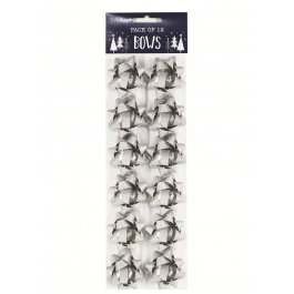 12 Pack Bows Silver Glitter