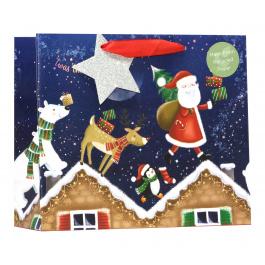 COMING SOON- Medium Shopper Bag Santa Roof Tops