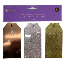 9 Pack Glitter Tags Christmas Sparkle