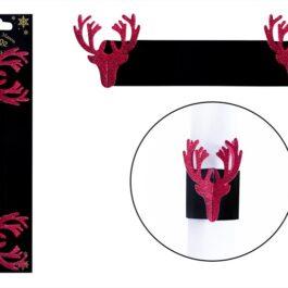Napkin Rings 6 Reindeer Red