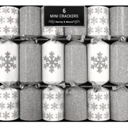 6 Mini Silver Snowflake Crackers